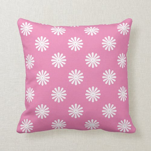 Add Any Color Background to White Floral Pattern Throw Pillow