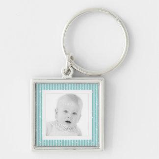 Add Baby Photo Cute Aqua Stripes Keychain