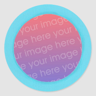 Add baby photo stickers, in a blue circle frame classic round sticker