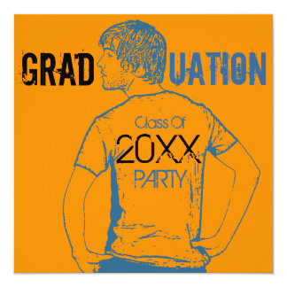 "Add Cartoon Graduation Party Invitation Boy 5.25"" Square Invitation Card"