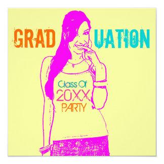 """Add Cartoon Graduation Party Invitation Girl 5.25"""" Square Invitation Card"""