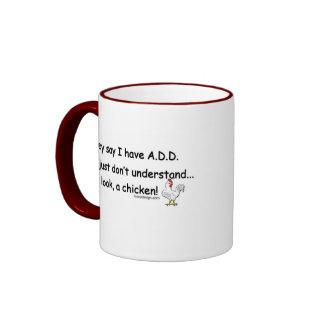 ADD Chicken Humor Ringer Coffee Mug