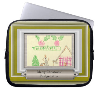 Add Child's Drawing with Custom Color Frame Laptop Sleeves