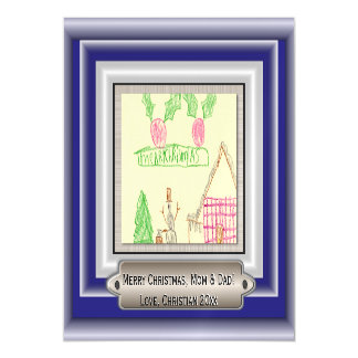 Add Child's Drawing with Custom Color Frame Magnetic Card