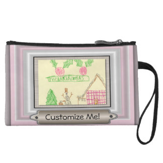 Add Child's Drawing with Custom Color Frame Wristlet