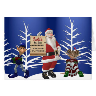 "Add Child's Name ""Santa's Nice List"" Holiday Card"