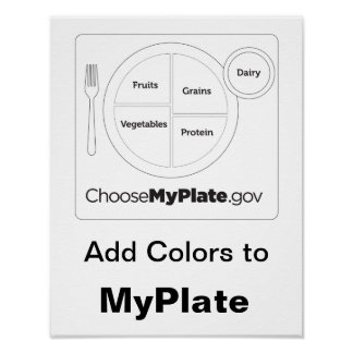 Add Colors to MyPlate - White Poster