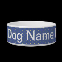 Add Dog Name Blue Quilt Bowl pet bowls