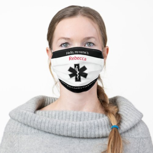 Add EMT Name to County Fire and Rescue Cloth Face Mask