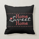 Add Family Name and Date, Home Sweet Home, Black Throw Pillows