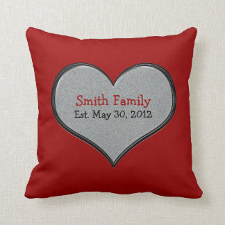 Add Family Name and Date, Home Sweet Home, Red Throw Pillow