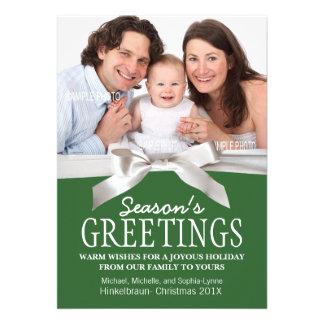 Add Family Photo Green Season's Greetings Personalized Invitation