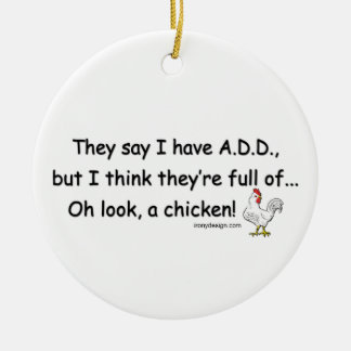 ADD Full of Chickens Double-Sided Ceramic Round Christmas Ornament