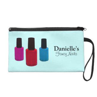 Add Her Name, Finger Nail Polish Blue Beauty Bag Wristlet Purses