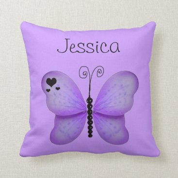 Valentines Themed Add Her Name Purple Butterfly Decorative Pillow