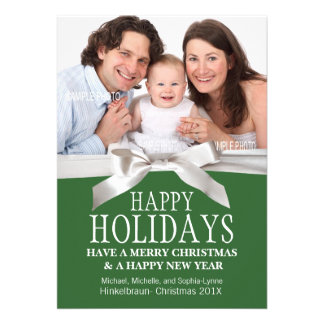 Add Holiday Photo Green with White Ribbon Cards
