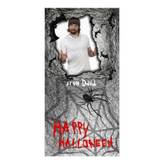 Add Image Halloween Photo Card Grey
