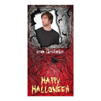 Add Image Halloween Photo Card Red