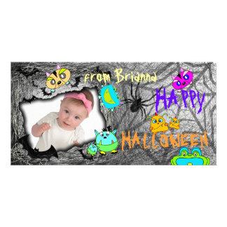 Add Image Monster Pets Halloween Photo Card Grey