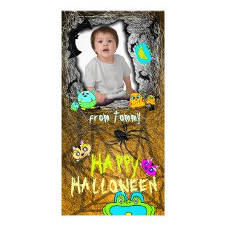 Add Image Monster Pets Halloween Photo Card Orange