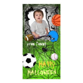 Add Image Sport Halloween Photo Card Green