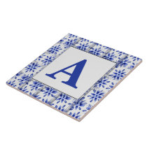 Add Initial On Decorative Blue And White Tile