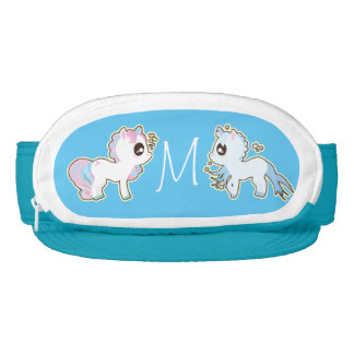 Add Initials 2 Kawaii CoinPurse Unicorns cute blue Visor