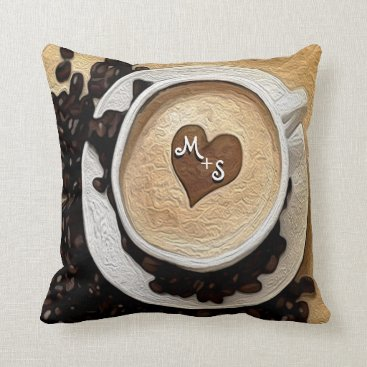 Coffee Themed Add Initials Coffee Throw Pillow