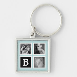 Add Instagram Photos Pastel Blue Monogram Silver-Colored Square Keychain