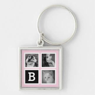 Add Instagram Photos Pastel Pink Monogram Keychain