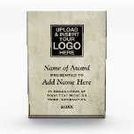 """Add Logo and Custom Information for Presentation Award<br><div class=""""desc"""">A png file works best! Add your photo or logo and accomplishments to this plaque with a parchment colored background. You can make changes to the text or click on the customize link to move things around.</div>"""