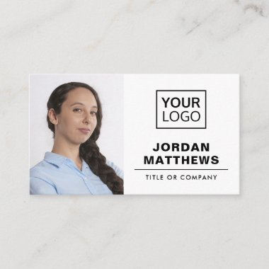 Add logo and photo social media icons modern white business card