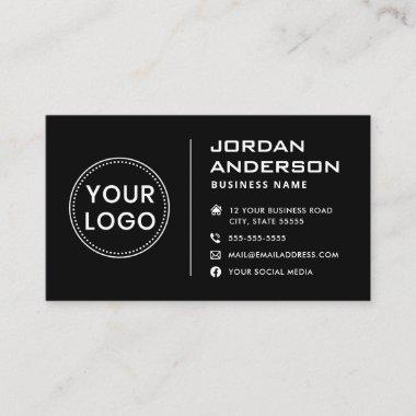 Add logo modern masculine social media icons black business card