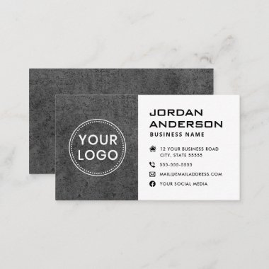 Add logo social media icons dark gray concrete business card