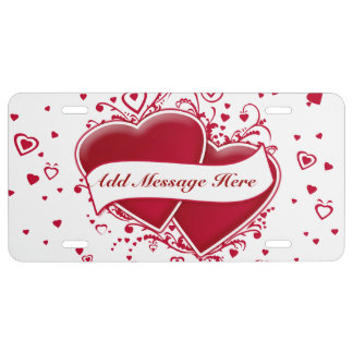 Add Message Two Red Hearts For Valentine's Day License Plate