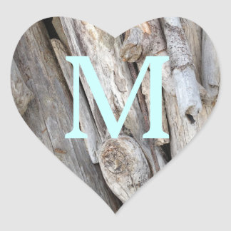 Add Monogram Rustic Beachy Driftwood Oregon Coast Heart Sticker