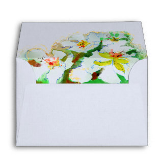 add more spring flowers in watercolour envelope
