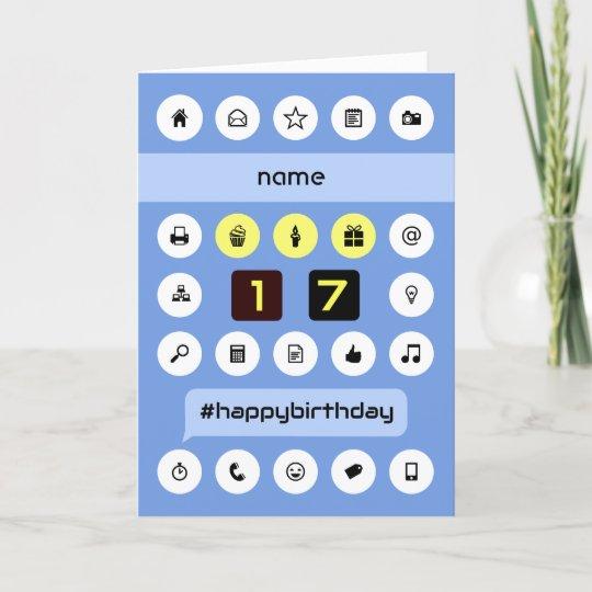 Add Name 17th Birthday Personalized Computing Card Zazzle