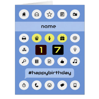 Add name 17th birthday personalized computing card