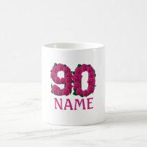 Add name 90th birthday number custom coffee mug