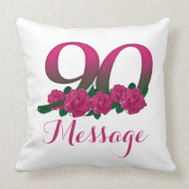 Add name 90th birthday number custom throw pillow
