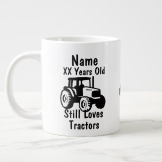 Add Name Age Personalized Tractor Birthday Giant Coffee Mug