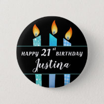 Add Name and Age Blue Candles Happy Birthday Gift Button