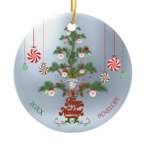 Add Name and Date Fleece Navidad Sheep Christmas T Ceramic Ornament