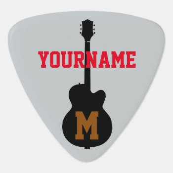 Add Name And Initial Guitar Pick by mixedworld at Zazzle