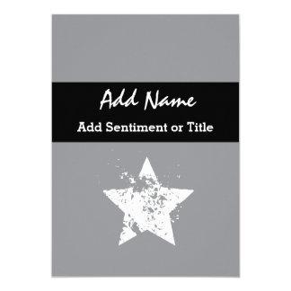 "Add Name and Sentiment Gray Custom Name G06 5"" X 7"" Invitation Card"