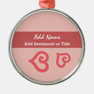 Add Name and Sentiment Pink Doodle Heart A01 Metal Ornament