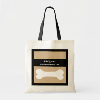 Add Name and Sentiment Tan and White Bone A01 Tote Bag