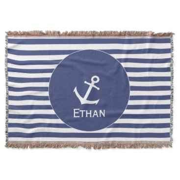Beach Themed Add Name | Blue and White Striped Nautical Throw Blanket