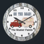 "Add name Camping camper wall clock<br><div class=""desc"">design by Cheryl Seslar at www.digiwebstudio.com back by www.thegraphicsshoppeclub.com</div>"